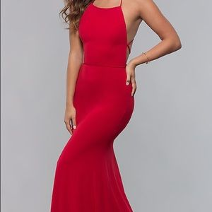 Long, red, fitting, open-back dress